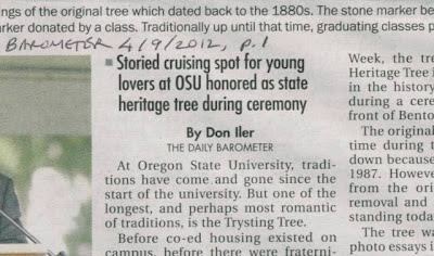 Front page headline 'storied cruising spot at OSU' Barometer 4/19/12 p. 1