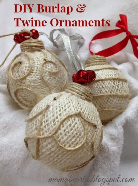 Musings of a mama bear diy burlap twine ornaments for How to make burlap christmas decorations