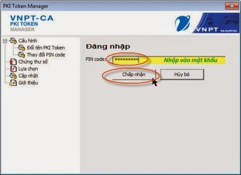 Đổi mật khẩu chữ ký số VNPT