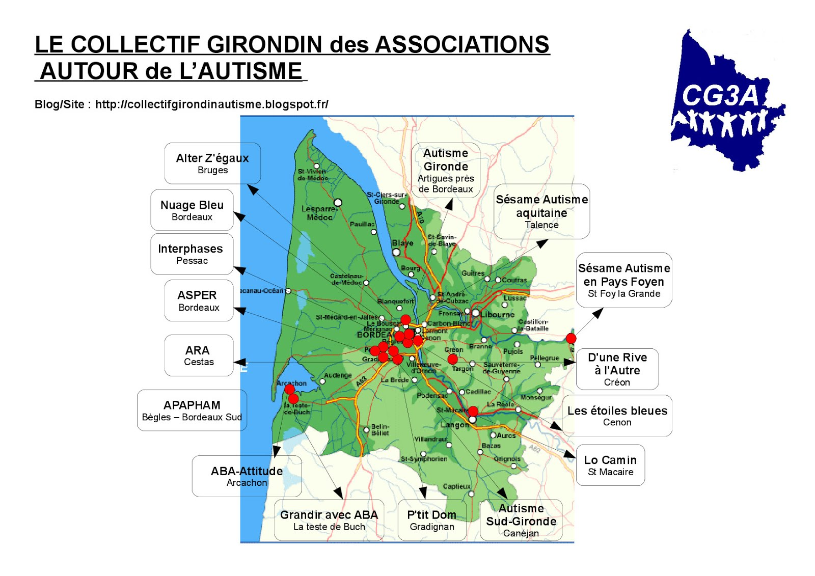 Localisation des associations du CG3A