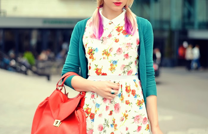 persunmall floral dress pig tails Zara bag