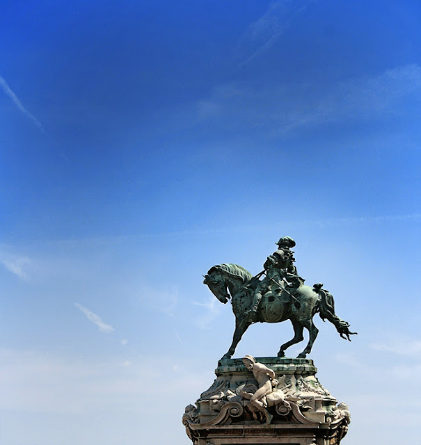 Statue of horseman and horse in Budapest, Hungary, travel photography