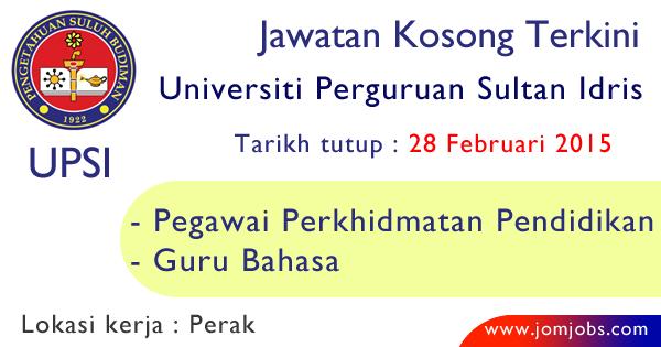 Jawatan Kosong UPSI 2015 Terkini Perak