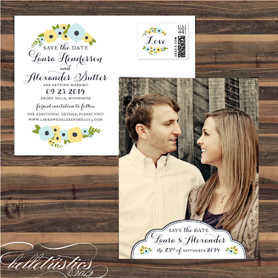 romantic hand drawn floral printable diy photo save the date post card