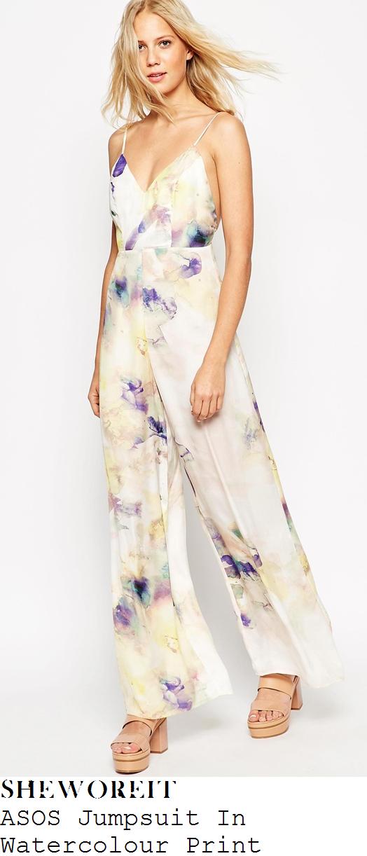 lauren-pope-cream-multi-watercolour-sleeveless-wide-leg-jumpsuit-towie-marbs