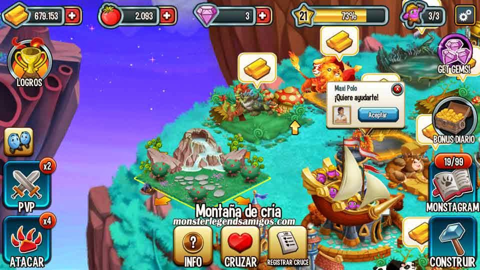 imagen de como registrar cruce en monster legends ios