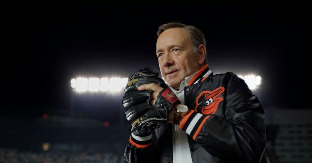 Vice President Frank Underwood pitches at Orioles baseball game