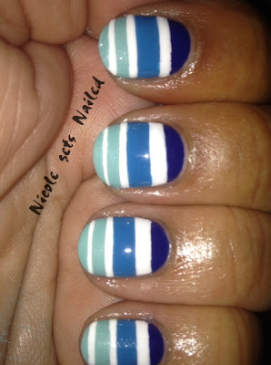 Blue Gradient White Stripes Nail Art Pantone