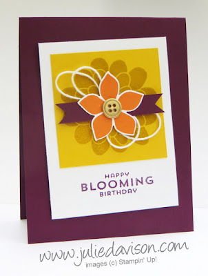 Stampin' Up! Flower Patch: Happy Blooming Birthday Card #stampinup for PSC04 Sketch Challenge www.juliedavison.com