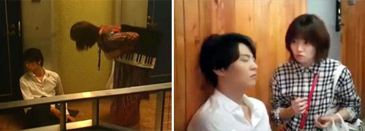Chiaki is discovered by Ueno Juri 上野樹里 (うえの じゅり) as Noda Megumi aka Nodame, passed out in the hallway / The same scene featuring Shim Eun Kyung 심은경 as Sul Nae Il kneeling beside Cha Yoo Jin