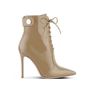 Gianvito Rossi nude ankle boots with lace up and stiletto heel