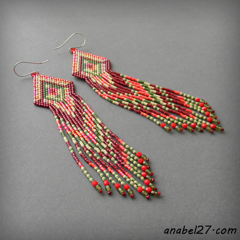 Seed bead earrings - beaded earrings