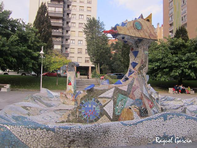 Dragón en el Barrio de Txurdinaga en Bilbao (Bizkaia)