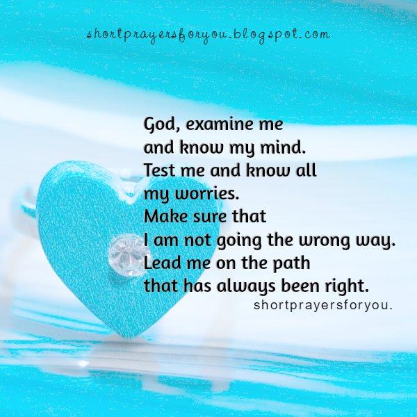Short prayer Help me Lord, free christian image, prayers, free cards, examine me God, know my mind. Free prayer by Mery Bracho