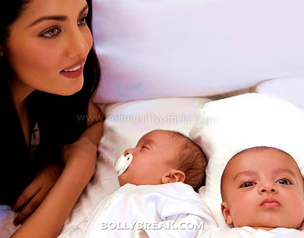Celina Jaitly twins - (2) - Celina Jaitly with her Twins - Photoshoot