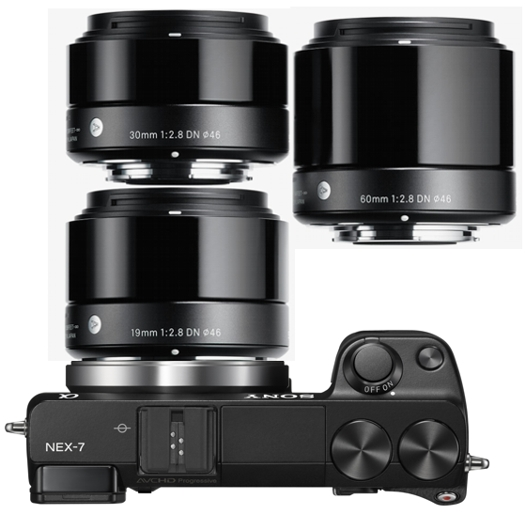 sony nex-7 sigma dn art 19mm 30mm 60mm lenses