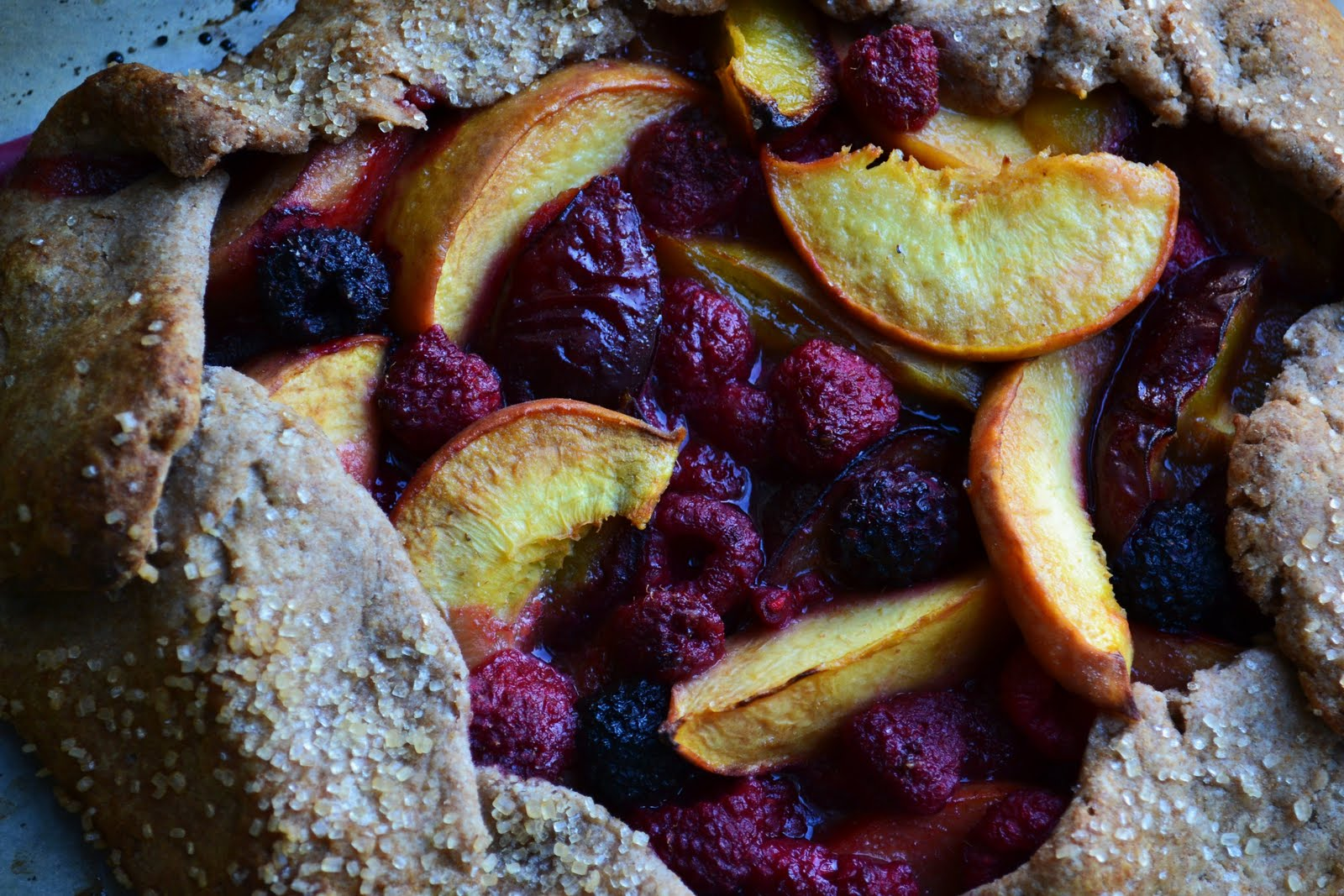... The Roots: Rustic Whole Wheat Raspberry, Plum, and Peach Crostata