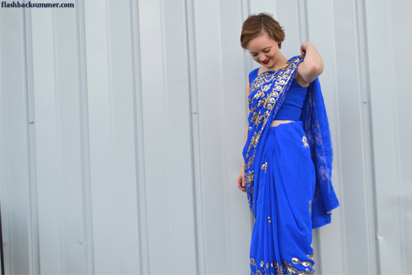 Flashback Summer: Indian Sari Debut - blue gold saree