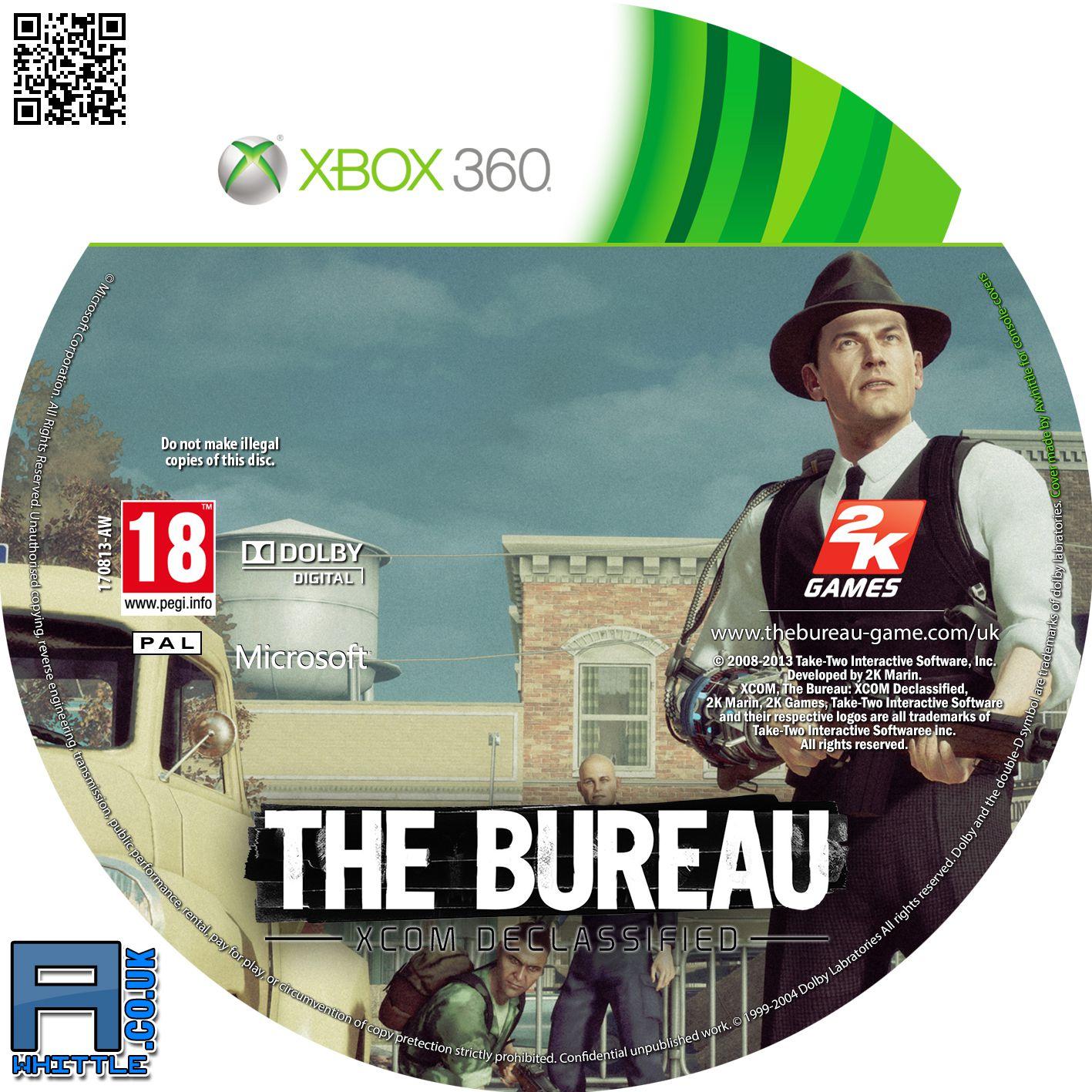 Label the bureau xcom declassified xbox 360 gamecover for The bureau xbox 360