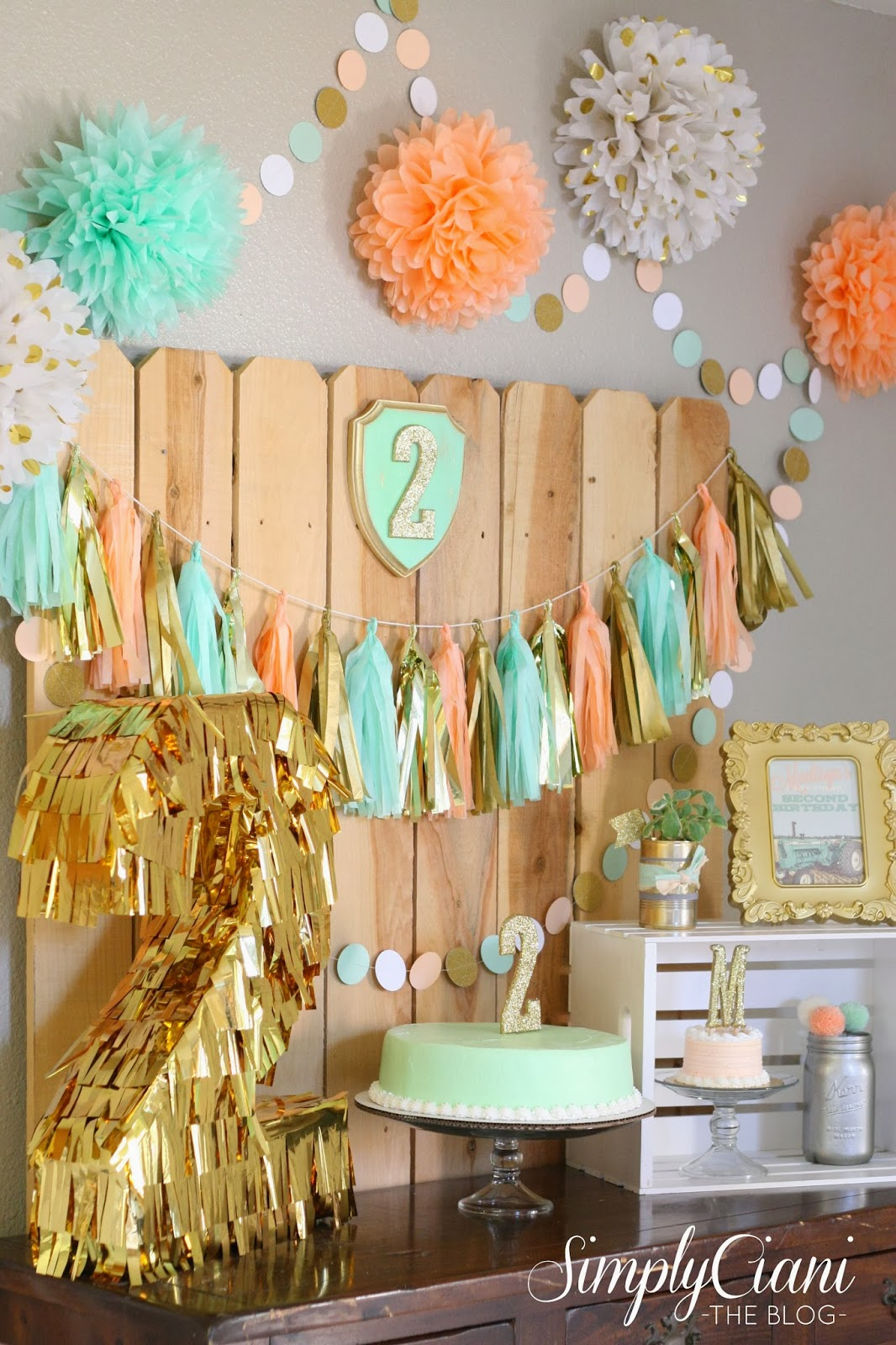 Peach mint gold farm fresh birthday party simply ciani for 2nd birthday party decoration