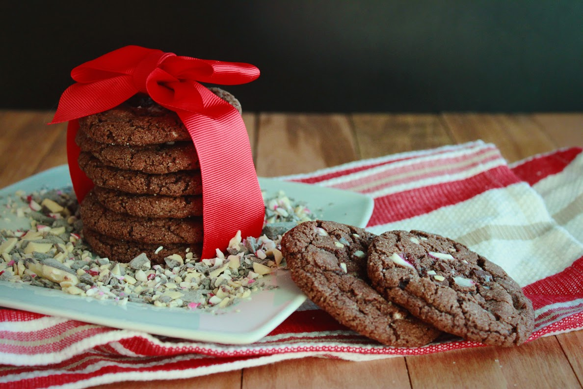 The Busty Baker: Chewy Chocolate Peppermint Bark Cookies