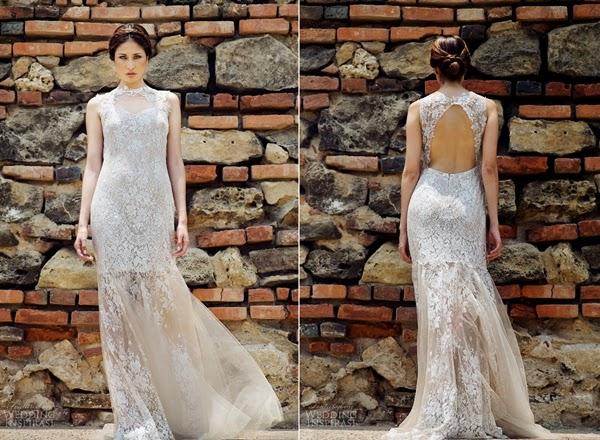 Cô dâu mùa thu với váy cưới ren hở lưng quyến rũ