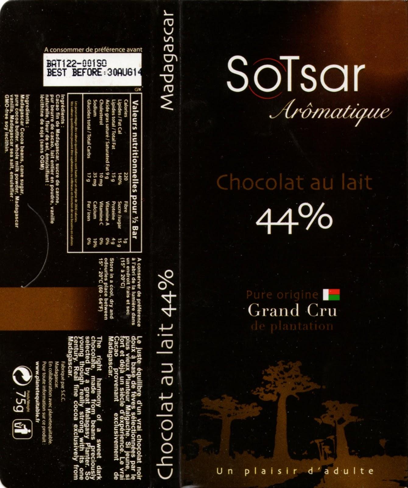 tablette de chocolat lait dégustation sotsar chocolat au lait madagascar 44