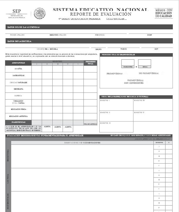Reporte de Evaluacion de Primaria 2014 - 2015 + Instrucciones de