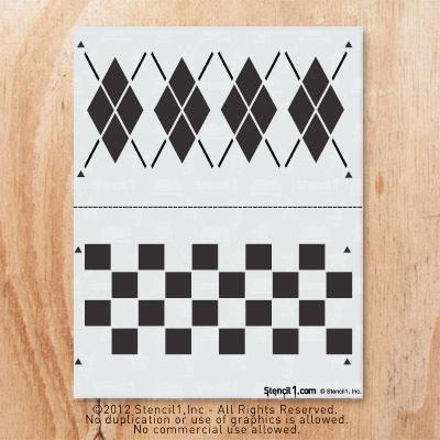 Stencil1 argyle and checker pattern 2-pack of stencils