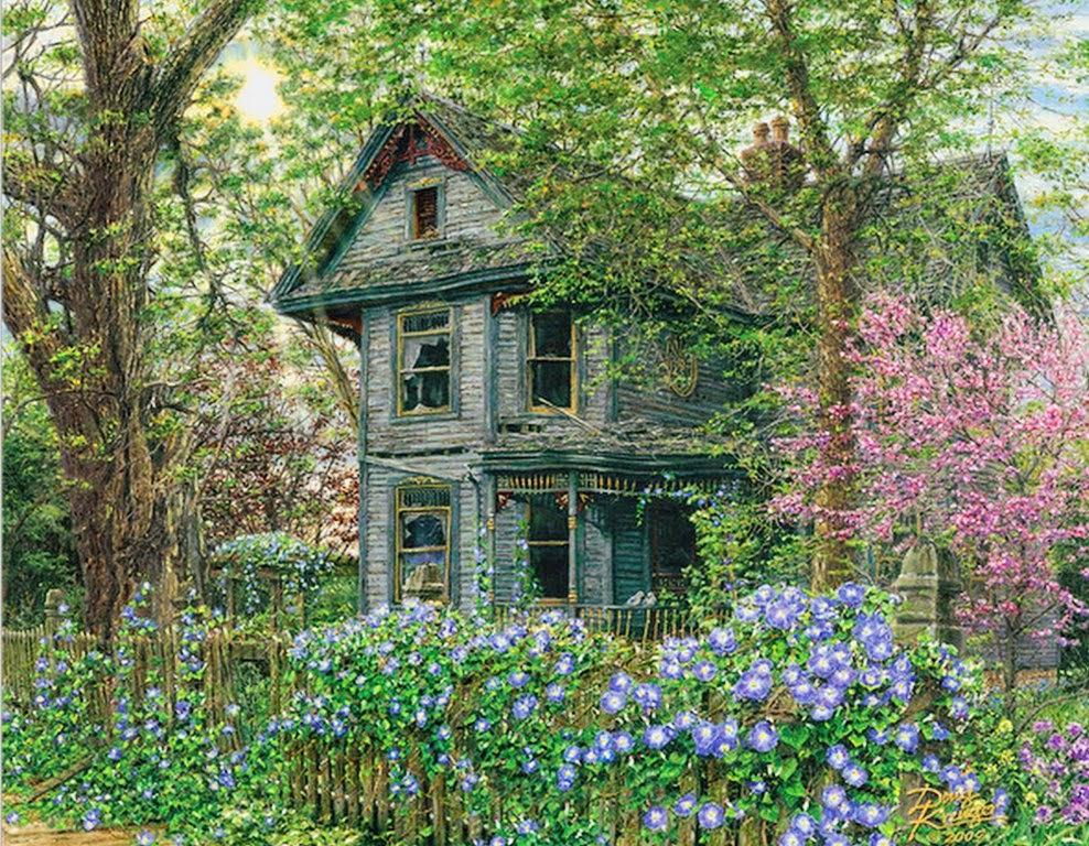 Pintura moderna y fotograf a art stica paisajes con - Casas viejas al oleo ...