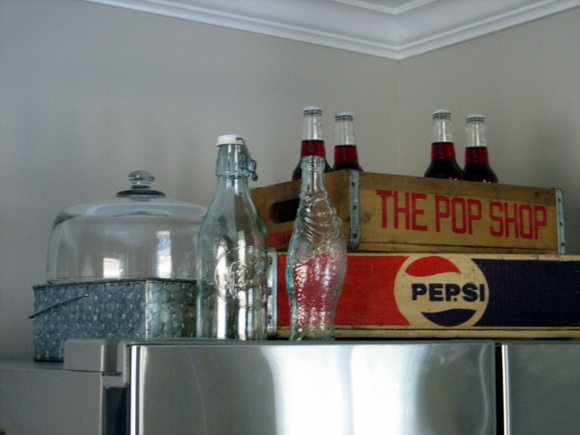 Above The Fridge Storage Area: The finished look! What an improvement with the addition of my vintage soda crates and added accessories.