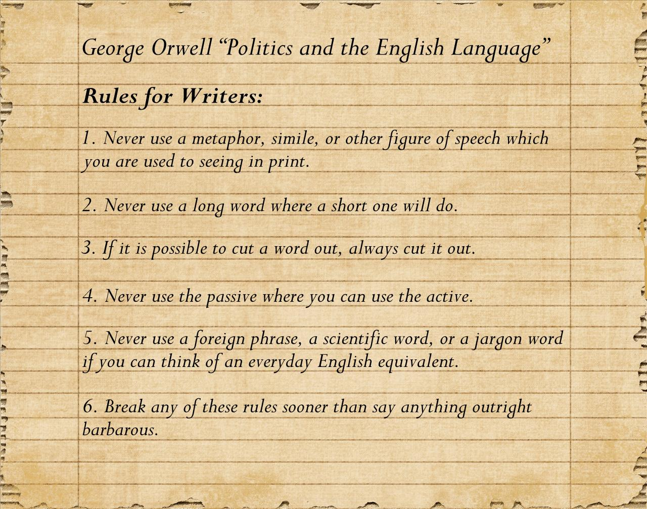 rules to writing Many of the so-called rules of writing don't really do what you'd want such rules to  do – make you a better writer there's nothing really wrong with splitting an.