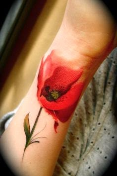 Watercolour poppy arm tattoo: Tattoo Trends - Flowers