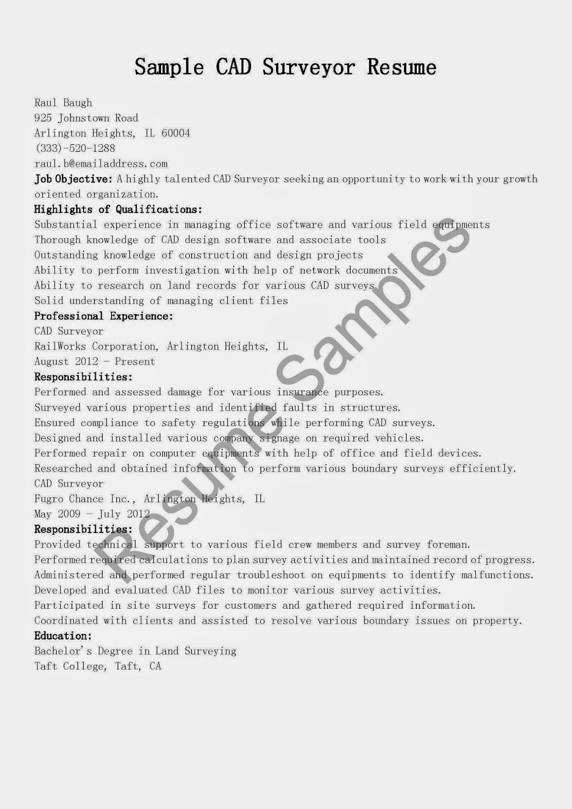 resume sles cad surveyor resume sle