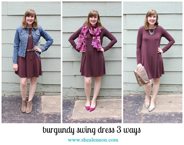 3 ways to style a burgundy dress | www.shealennon.com
