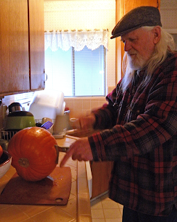 Joe in the Kitchen Chopping Pumpkin