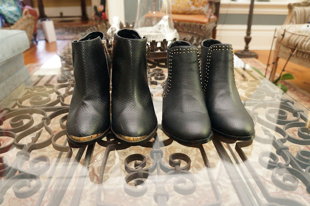 Material Girl gold plated black leather booties, flat moon boots with studs