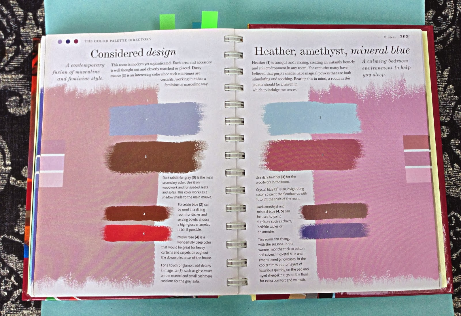 Here are some images from the book so you can see how the color schemes are formatted