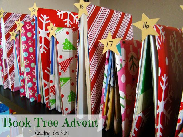 http://www.readingconfetti.com/2012/11/book-tree-advent.html