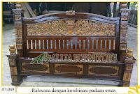 Tempat tidur ukiran kayu jati Rahwana paduan melamine emas