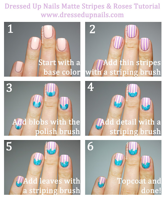 Dressed Up Nails - matte stripes with roses, spring/Easter nail art tutorial