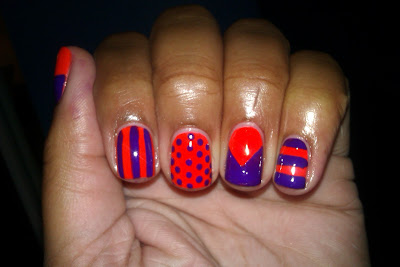 Neon, orange, purple, essie, stripes, polka dots, nail art, mani