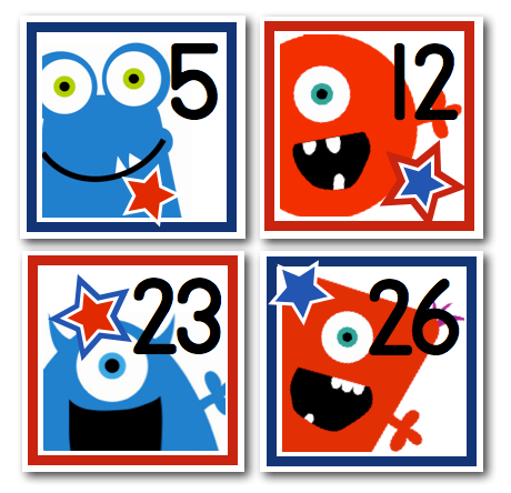 ADORABLE patriotic monster numbers for a classroom calendar
