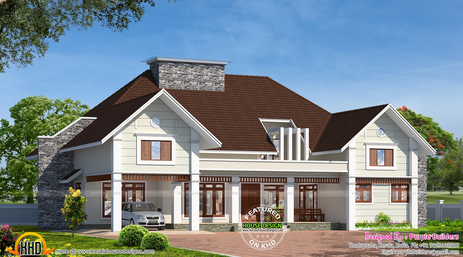 Bungalow house in kerala kerala home design and floor plans for Plan of bungalow in india