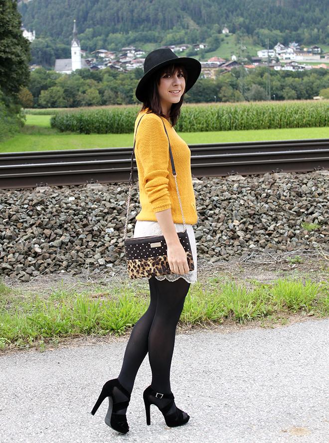 outfit trend fashionblogger senfgelb takko hm spitze highheels mango clutch leopard 01