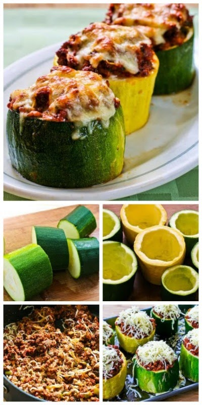 Meat, Tomato, and Mozzarella Stuffed Zucchini Cups found on KalynsKitchen.com