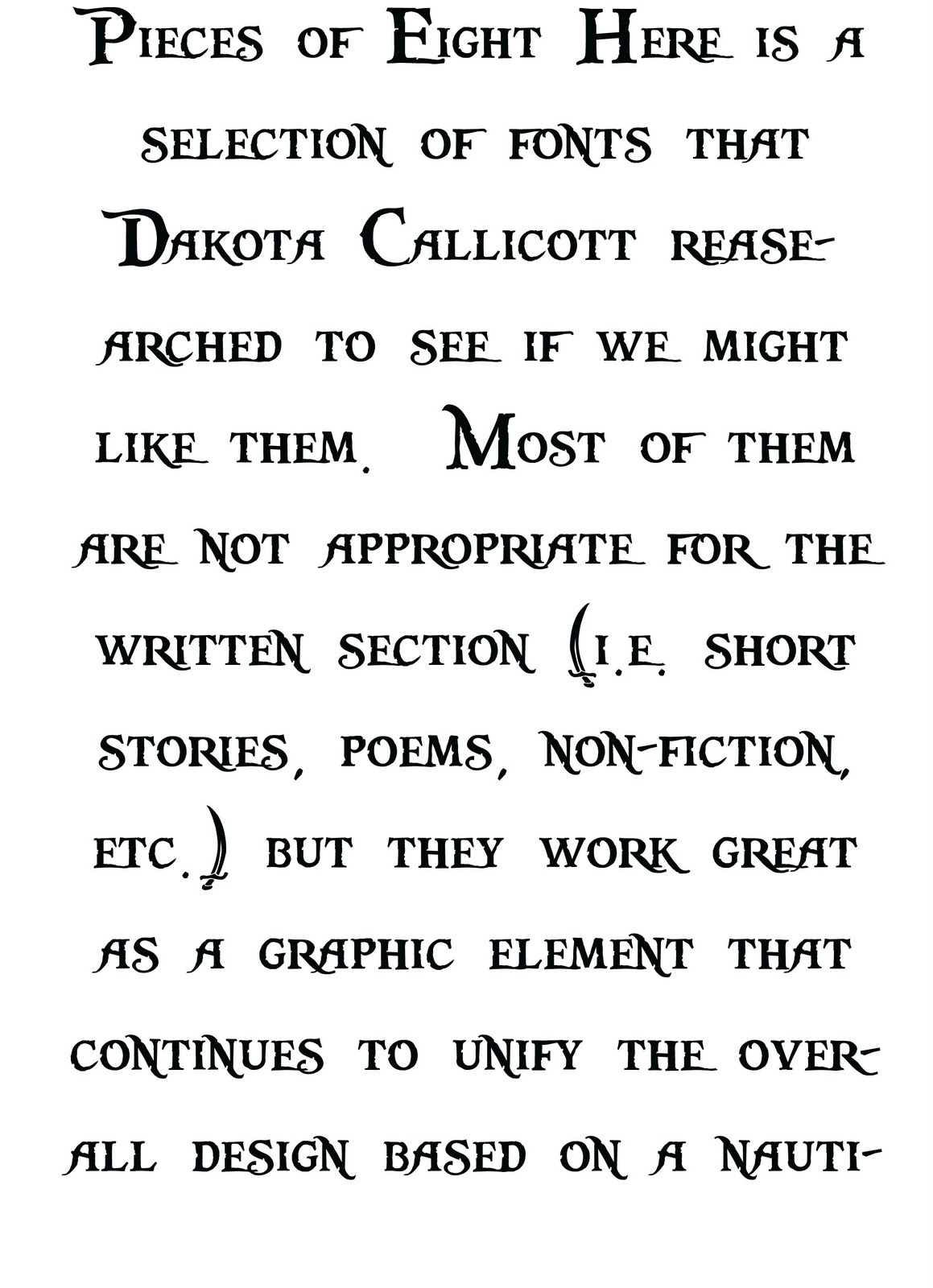 The Scrimshaw: Fonts researched by Dakota