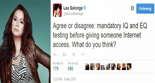 Lea Salonga Asking for People's Opinion on Twitter About Having an IQ or EQ Test Before Someone Could Access The Internet