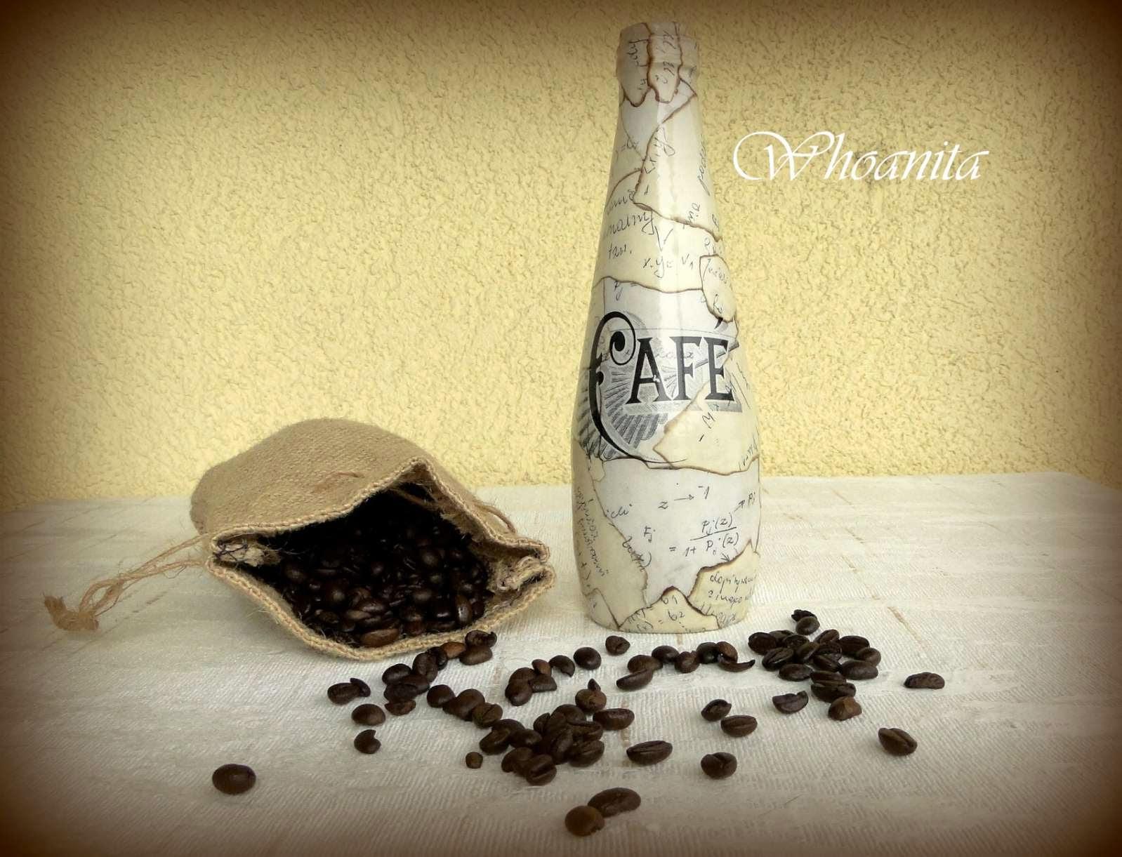 butelka kawowa, transfer, decoupage