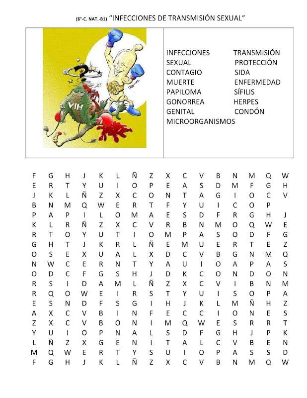 Sopa de letras infecciones de transmisión sexual